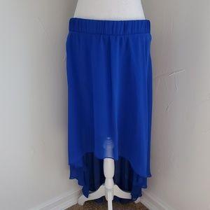 Bebe high-low tulle skirt, blue, sz M